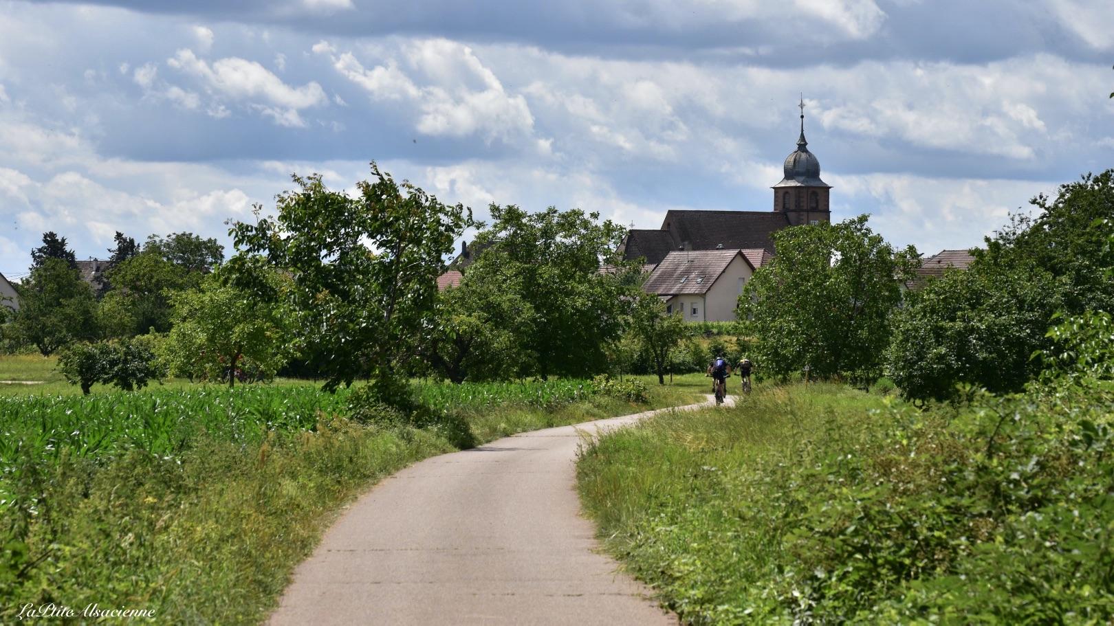 Vue sur l'église de Bergholtz depuis la piste cyclable - Photo by LaPtiteAlsacienne Cendrine Miesch