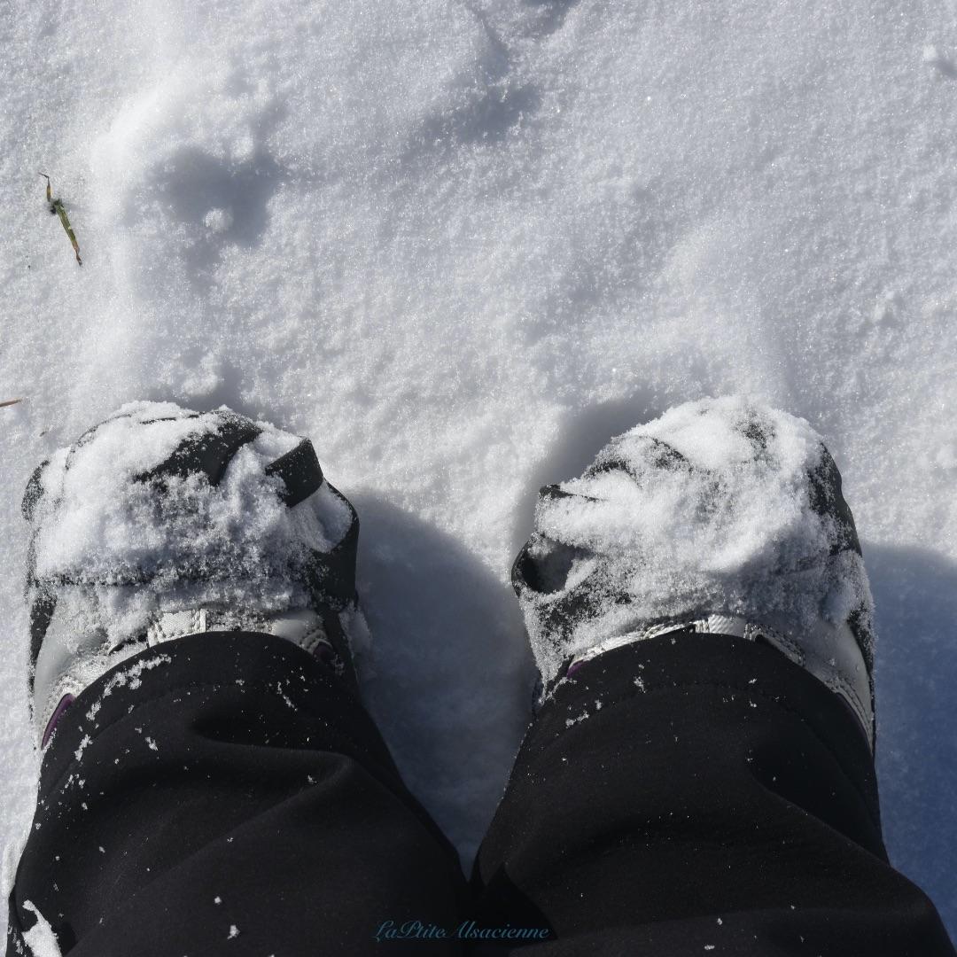 Chaussure de randonnée et crampons - Equipement de LaPtiteAlsacienne en hiver