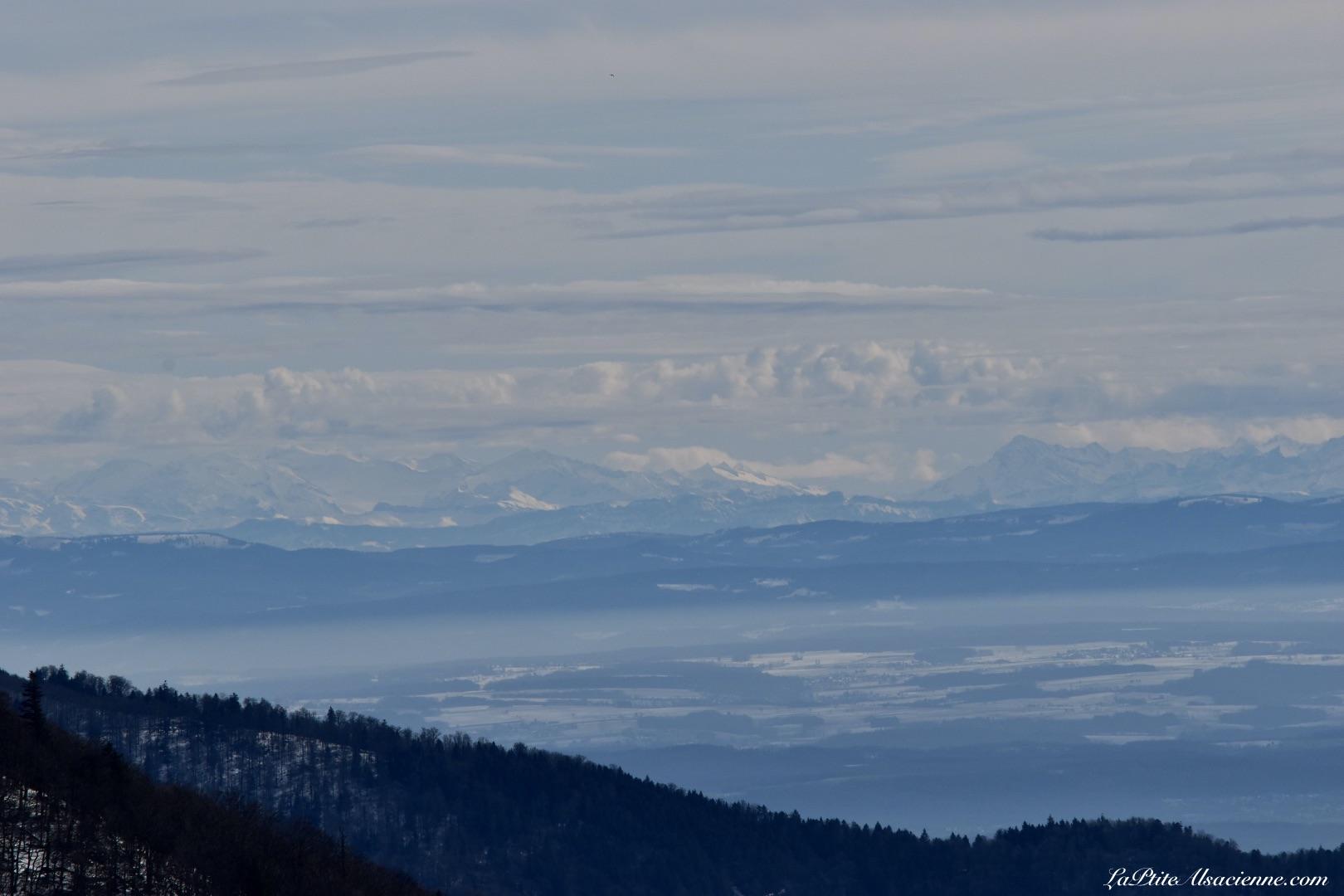vue sur les Alpes depuis le Markstein. Photo du 16 février 2021 par Cendrine Miesch dite LaPtiteAlsacienne