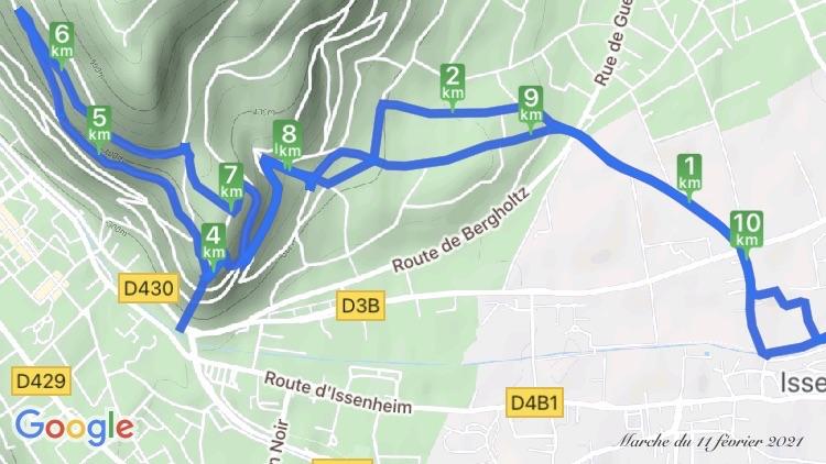 Carte marche du 11 février 2021 - Issenheim - Guebwiller par le vignoble - par Cendrine Miesch