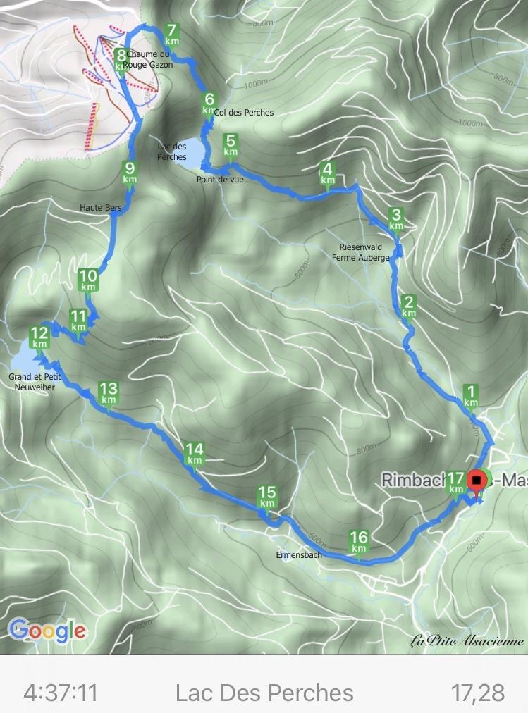 Carte CycleMeter de la randonnée au départ de Rimbach-Près-Masevaux, vers la ferme auberge Riesenwald lac des perches col des perches chaume du rouge gazon haute bers grand neuweiher petit neuweiher Ermensbach