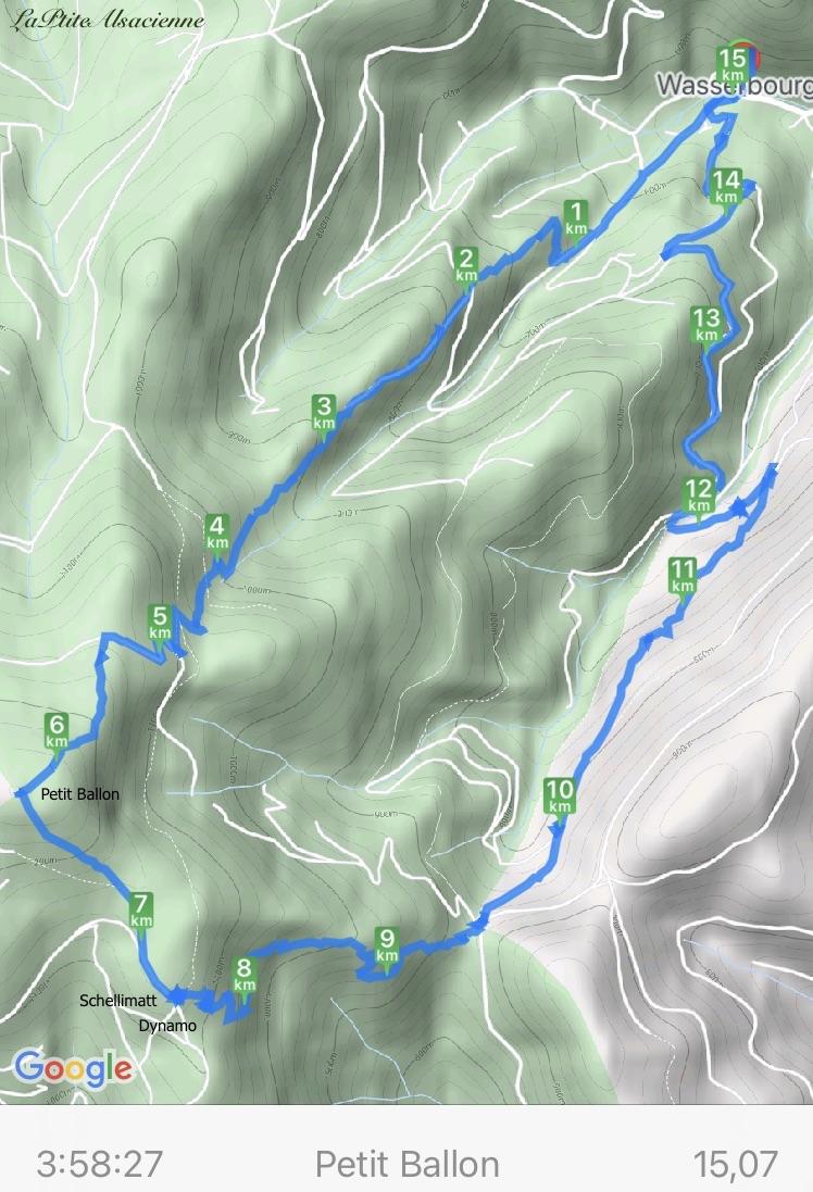 Plan du trajet du 21 mars 2021 randonnée de Wasserbourg au Petit Balllon, retour par Schellimatt et le Col du Boenlesgrab