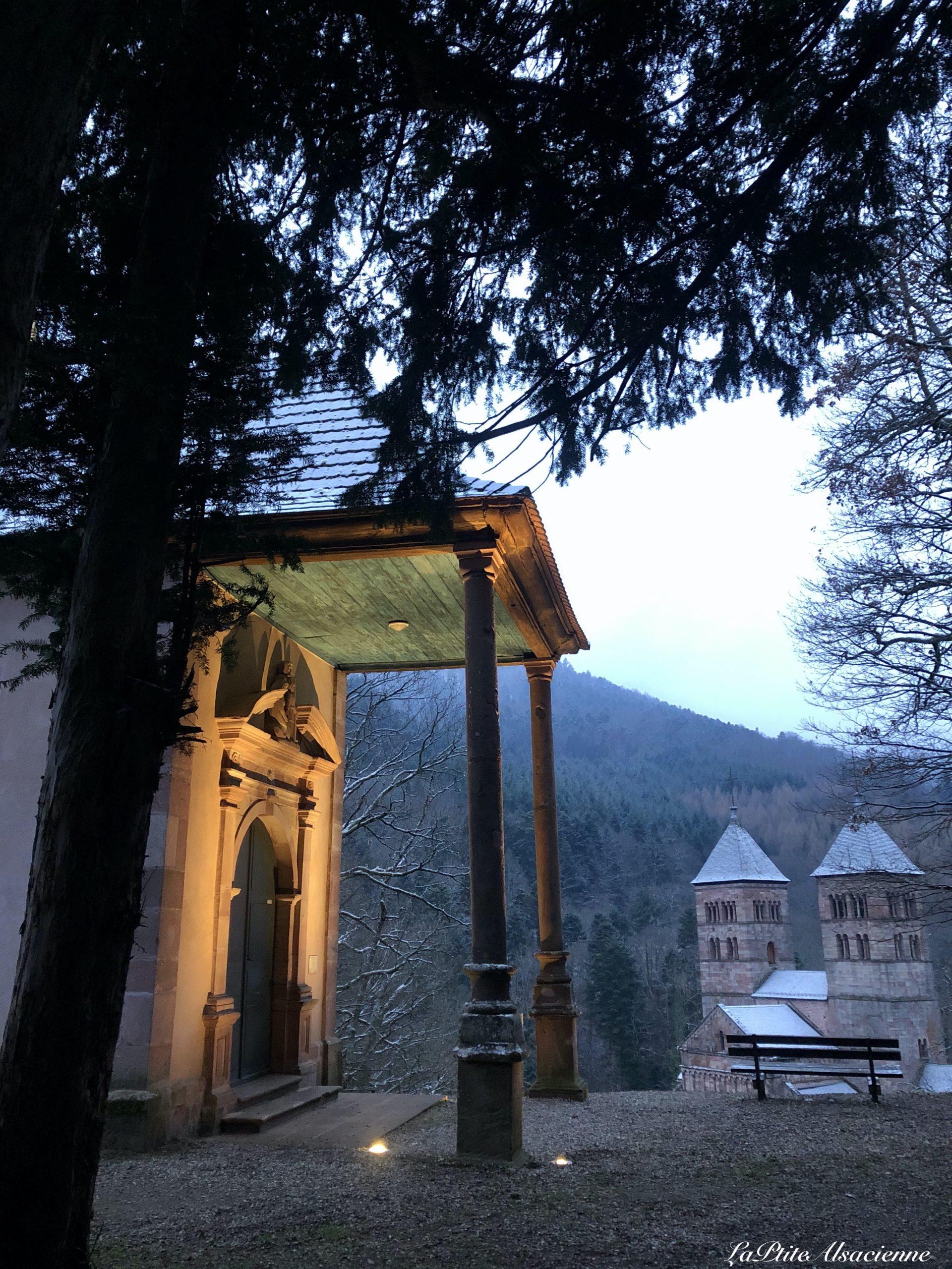 Notre Dame de Lorette et Abbaye de Murbach à la nuit tombante