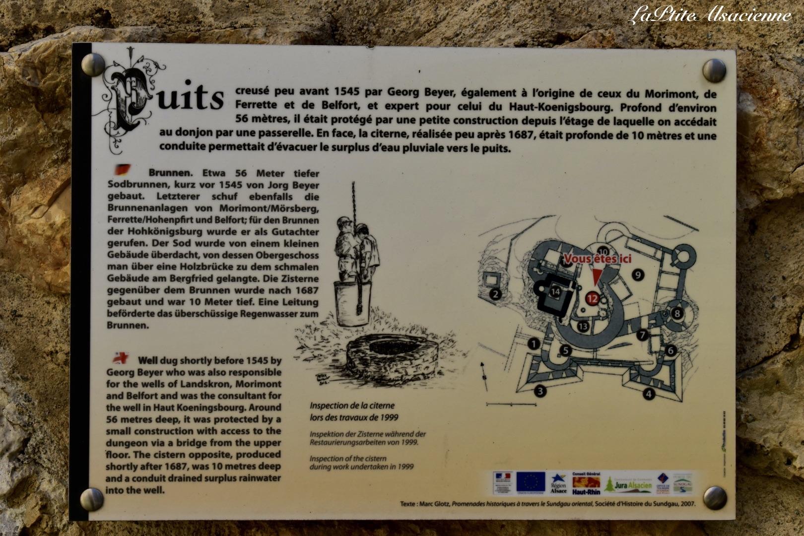 Panneau présent sur toute la visite du château de landskron à Leymen - Alsace - France