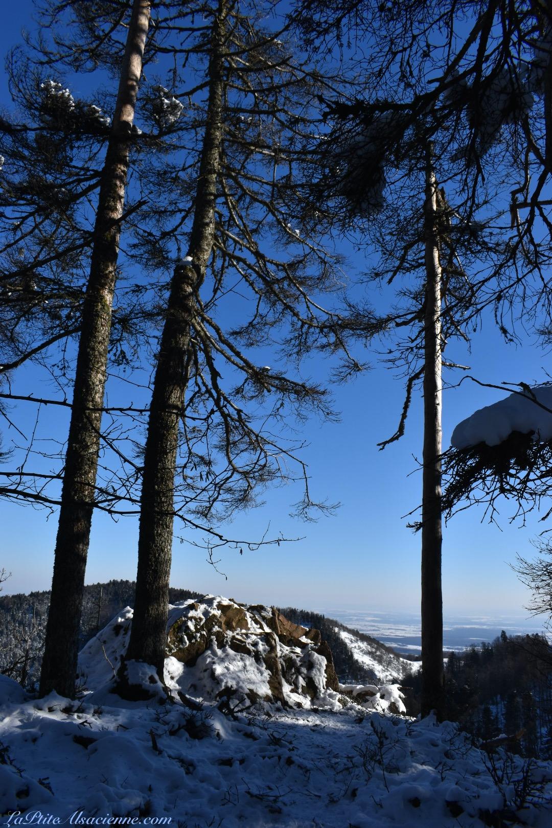 ciel bleu roche neige randonnee alsace par cendrine Miesch