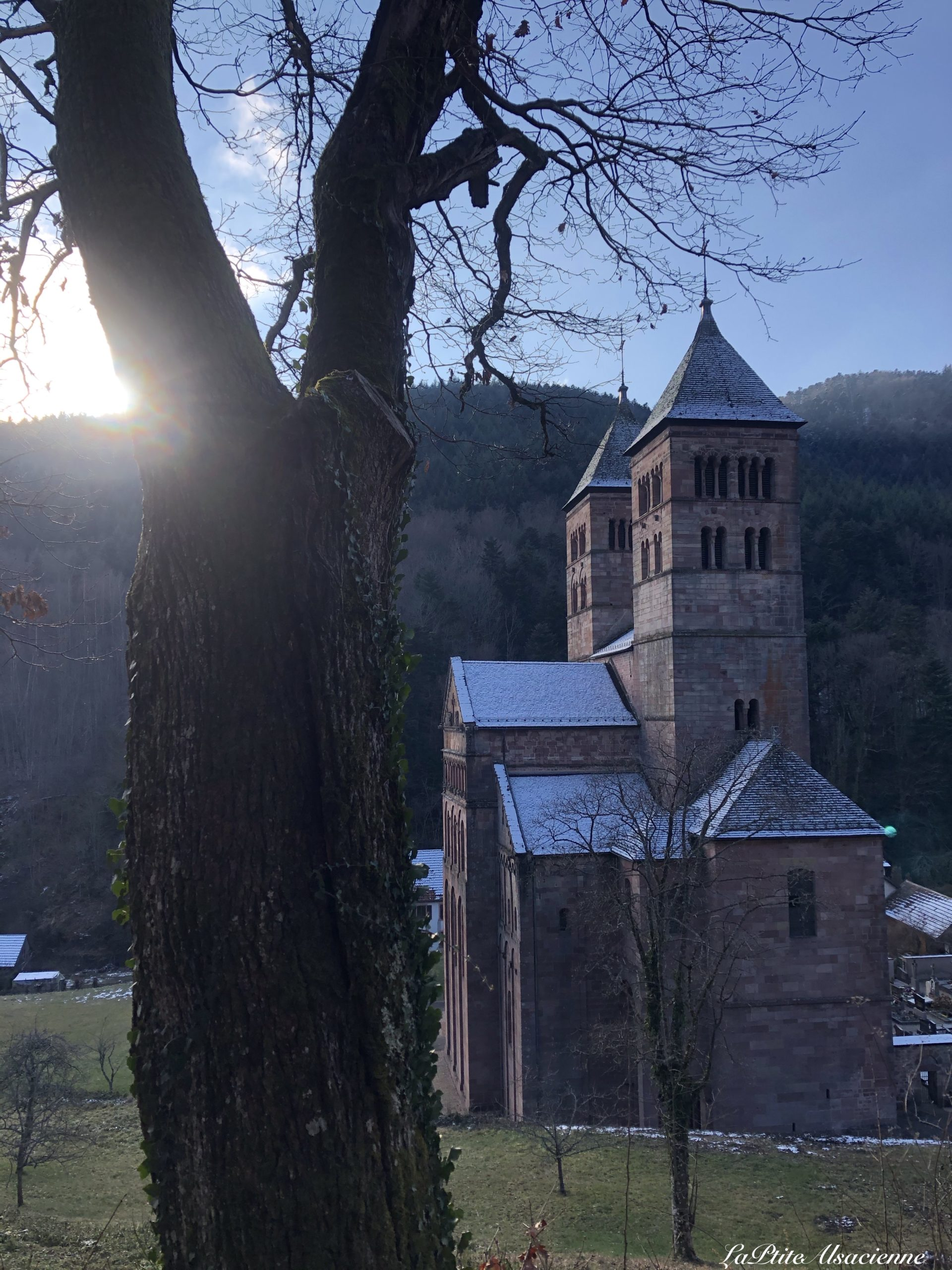 coucher de soleil sur abbaye de Murbach