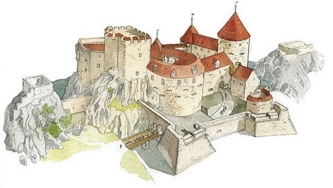 Dessin reproduction du château de Landskron Aquarelle - Source : Google image