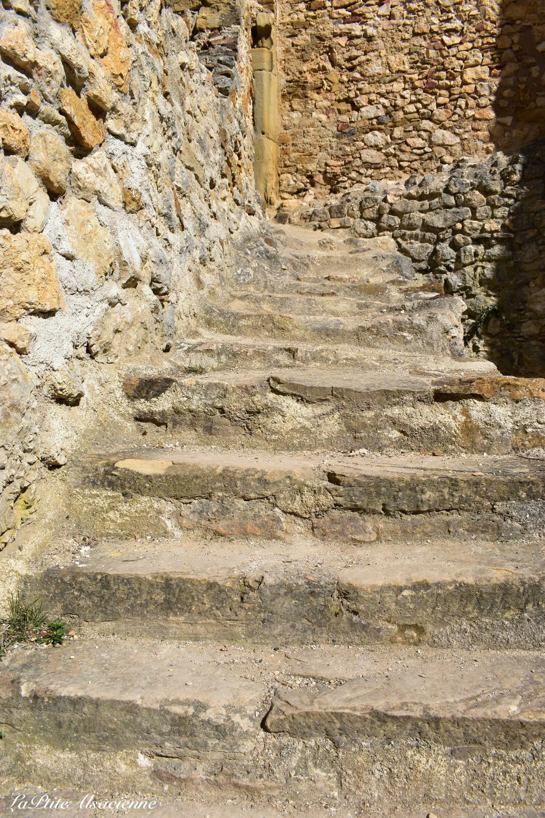 Escalier montant aux logis seigneurials du Château de Landskron à Leymen
