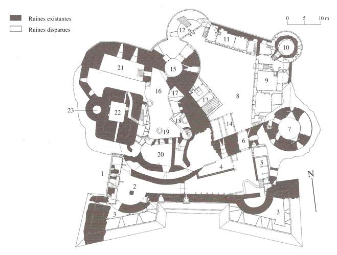 Plan du Château de Landkron extrait du site www.chateauxfortsalsace.com
