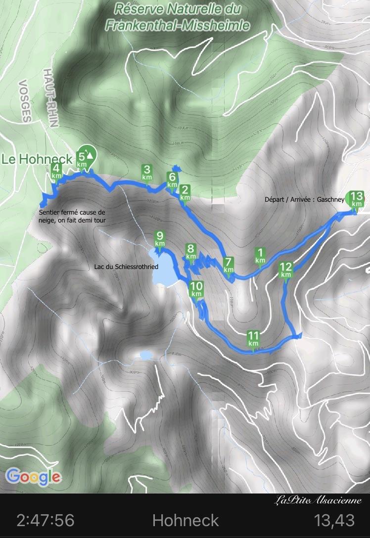 Carte de la randonnée du Gaschney vers le Hohneck et le lac du schiessrothried sur le GR5 Alsace Vosges Alsaciennes