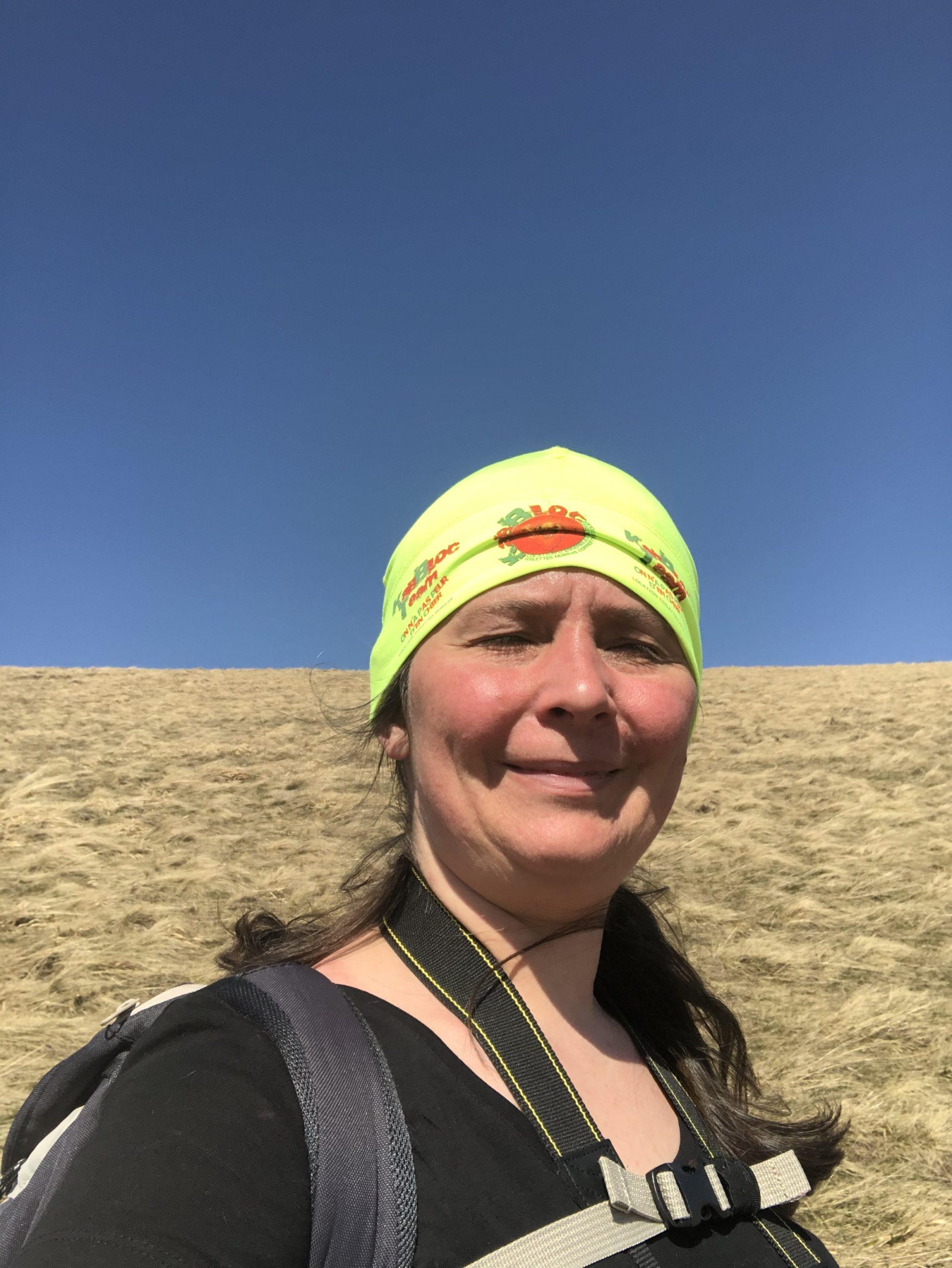 A défaut d'une casquette, j'ai retrouvé mon bonnet Kabbloc pour me protéger du soleil au Petit Ballon !