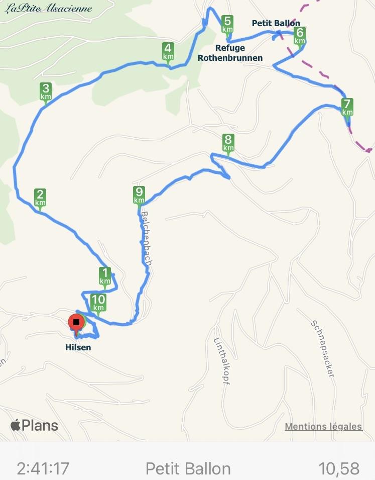 Plan Randonnée vers le Petit Ballon en passant par le Bockwassen, Rothenbrunnen, en partant du Hilsen