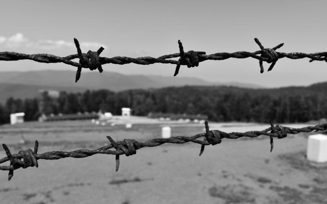 Vue générale au travers des fils barbelés du Camp de travail du Struthof à Natzwiller - Photo de Cendrine Miesch dite LaPtiteAlsacienne